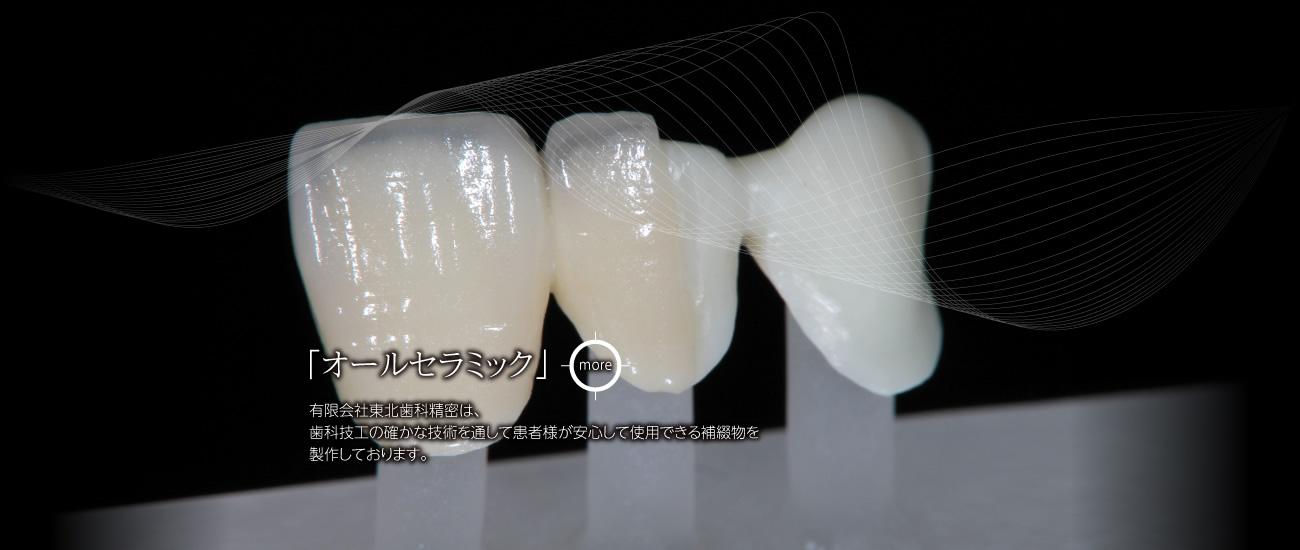 有限会社東北歯科精密は、歯科技工の確かな技術を通して患者様が安心して使用できる補綴物を製作しております。「オールセラミック」
